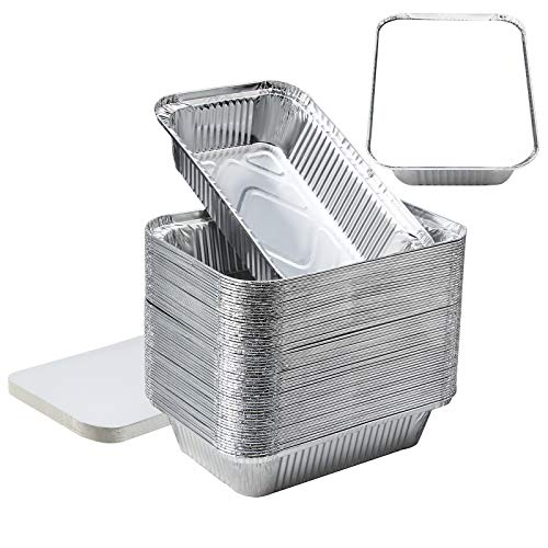 8''x6''x2''Aluminum Pans Foil Pans with Lids, Aluminum Pans Disposable with Covers 60 Foil Rectangle Pans and 60 Lid, 3.3lb Max allowable Load Food Storage Containers for Cooking, Baking, Meal Prep
