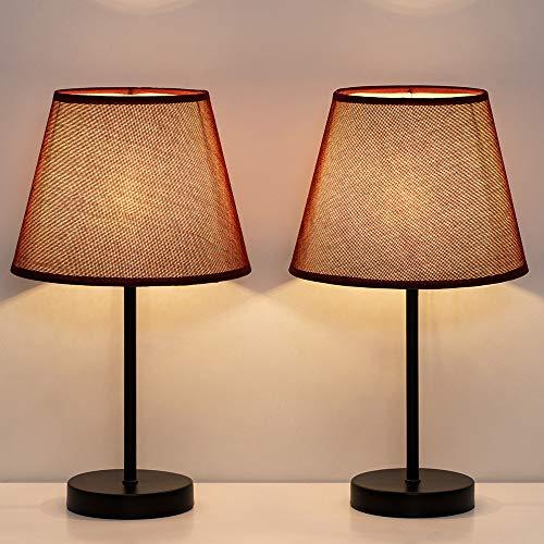 Lampade da Comodino Piccole, Set di 2 Lampade da Tavolo per Camera da Letto, Ufficio, Cameretta con Mini base in Metallo e Ombrello in Tessuto