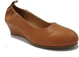 TheRightPair Women's Round Toe Slip On Elastic Mid Heel Wedge Pumps Office Work Dress Shoes NM01