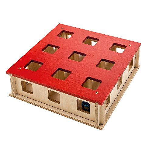 Ferplast 85100700 kattenspeelgoed Magic Box, kattenspel van hout, afmetingen: 27 x 27 x 8,5 cm, houtkleuren/rood