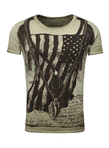 Key Largo Herren T-Shirt RACERBLADE Flaggenmotiv Printshirt Frontprint Vintage Look verwaschen Slim Fit Schnitt USA Amerika Rundhalsausschnitt grün XL