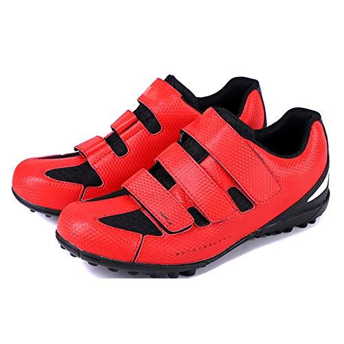 Sebasty Zapatillas de Ciclismo para Hombres y Mujeres,Zapatillas de Ciclismo Profesionales Sin Bloqueo,Zapatillas de Bicicleta de Montaña Zapatillas Zapatillas de Bicicleta MTB,Suela de Goma,Red-41