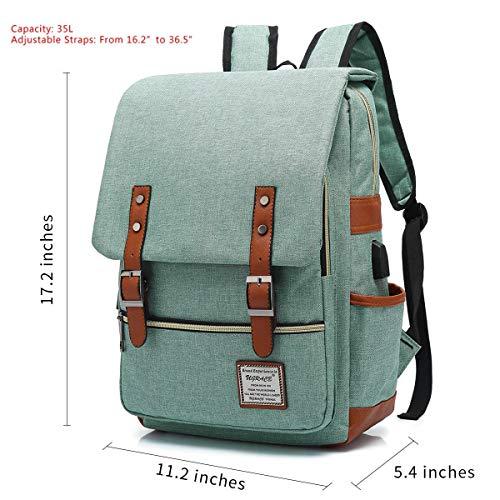 UGRACE Vint   age Laptop Backpack with USB Charging Port, Elegant Water Resistant Travelling Backpack Casual Daypacks School Shoulder Bag for Men Women, Fits up to 15.6Inch MacBook in Green