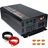 aeliussine Power Inverter 1000W Pure Sine Wave Inverter 24v DC to AC 120v Peak 2000 Watt Converter with LCD Display USB Charge Port for Car RV Boat Solar Power System.