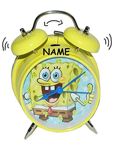 alles-meine.de GmbH Wecker Spongebob incl. Name - für Kinder Metall großer Wecker Analog - Alarm Metallwecker - Schwammkopf Robert Jungen Mädchen