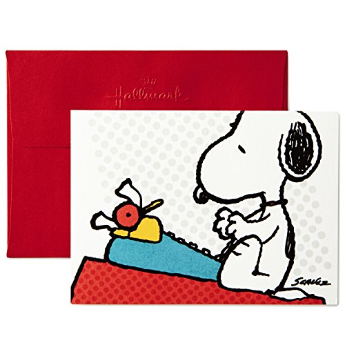 Hallmark Peanuts Blank Cards, Snoopy Typing (10 Cards with Envelopes)