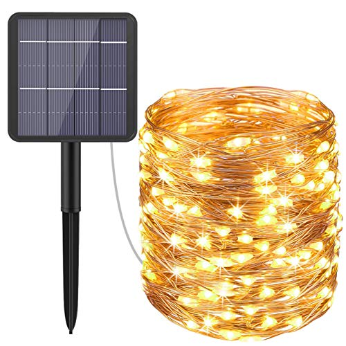 Hepside Solar Lichterkette Aussen, 240 Led Lichterkette Solar Außen IP65 Wasserdicht Mini Lichterkette Solar 8 Modus Garten Lichterkette Solar Deko für Bäume Terrasse Hof Hochzeit Partys - Warmweiß