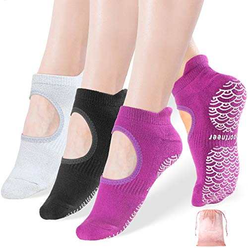 Yoga Socken, 3 Paare Yoga Pilates Sock für Frauen rutschfeste Socken mit Griffen, Anti-Rutsch für Pilates, Barre, Ballett, Tanz, Barfuß Workout Fitness Hospital Socken, Größe 35-42