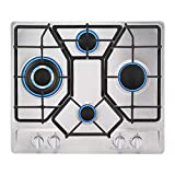 Empava EMPV-24GC4B67A 24' Gas Stove Cooktop 4 Italy Sabaf Sealed Burners NG/LPG Convertible Stainless Steel Cooker, 24 Inch