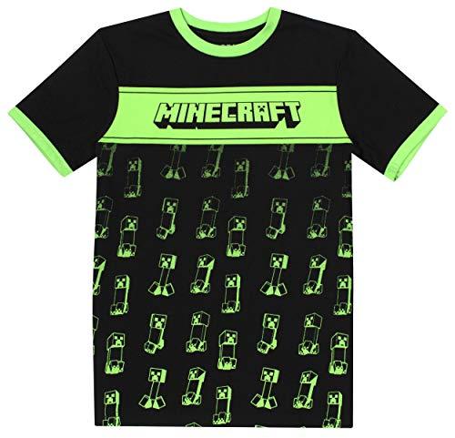 Minecraft - Ropa de Minecraft - Camiseta de Minecraft para niños - Ropa gamer para niños - Camiseta Creeper con contraste - Regalos de Minecraft - Regalos para niños - Negro - Edad 5/6