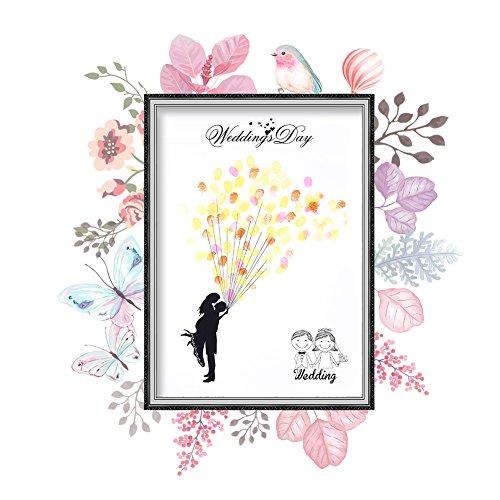 Arbol de huellas, Libro de visitas de la firma de la lona del árbol de la huella digital de la boda de DIY con tinta de 6 colores para la fiesta de cumpleaños de la boda(HK028)