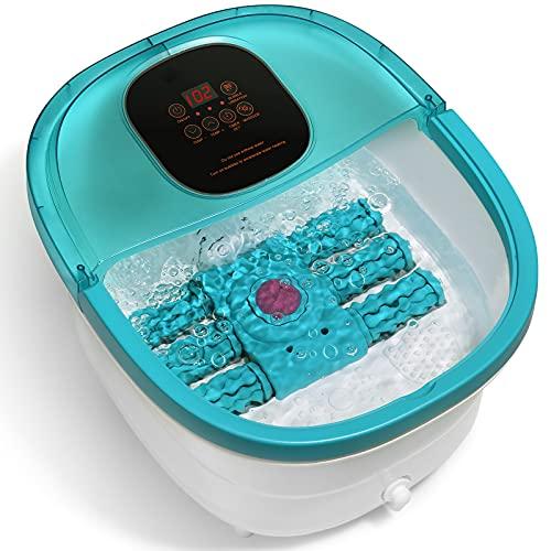 El masajeador de pies está equipado con 6 rodillos de masaje automáticos, calefacción, masaje de vibración y burbujas, temporizador y ajuste de temperatura, con piedra de afilar pedicura