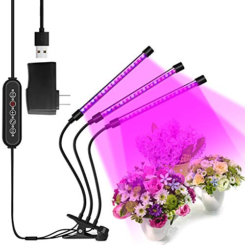 Lámpara de Crecimiento Lampara de Plantas Bawoo 60 LED Lampara de Cultivo Grow Light Indoor Lámpara de Planta Espectro Completo 30W Interruptor Temporizador Auto 3/6/12H Regulable 360°5 Brillo 6 Modos