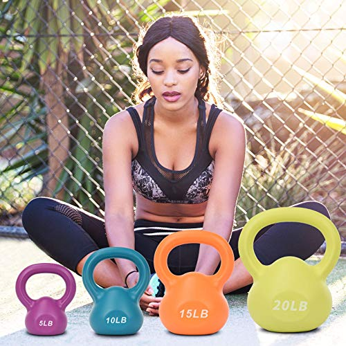 Ridkodg Us Fast Shipment Kettlebell Weight Set for Adults,20Lb 15Lb 10Lb 5Lb Vinyl Coated Kettlebell W/Handle,Weights Strength Training Kettlebells Exercise Workout,Easy to Grip (Purple 5LB)