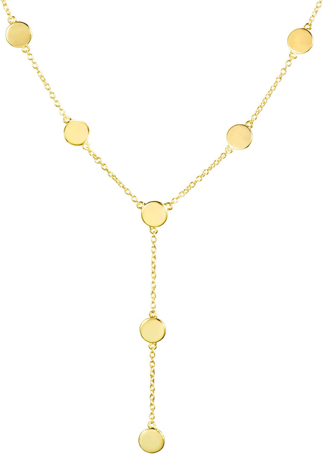 espere 18K Gold Plated Gold Coin Lariat Y Necklace | Small Medallion Gold Necklace Long for Layering