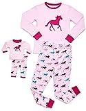 Leveret Kids & Toddler Pajamas Matching Doll & Girls Pajamas 100% Cotton 2 Piece Pjs Set (Size 2 Toddler-14 Years) (8 Years, Horse)