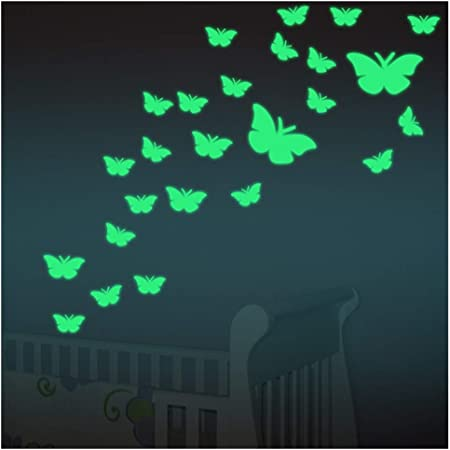 XLGX Papillons Autocollants lumineux, Etoiles Fluorescents et phosphorescents dans l'obscurité Wall Sticker Décoration murale Chambre de bébé enfant (Vert)