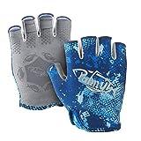 Palmyth Stubby UV Fishing Gloves Sun Protection Fingerless Glove Men Women UPF 50+ SPF for Kayaking, Paddling, Canoeing, Rowing, Driving (Blue Camo, Medium)