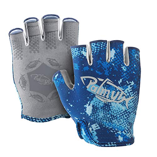 Palmyth Stubby UV Fishing Gloves Sun Protection Fingerless Glove Men Women UPF 50+ SPF for Kayaking, Paddling, Canoeing, Rowing, Driving (Blue Camo, Large)