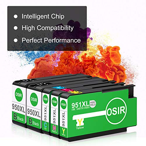 OSIR 950XL 951XL Compatible Ink Cartridge Rep   lacement for HP 950 951 XL Combo Pack, for Officejet Pro 8600 Plus 8600 8610 8620 8630 8100 8660 8615 251dw 276dw 271dw, 5 Packs (2BK, 1C, 1M, 1Y)