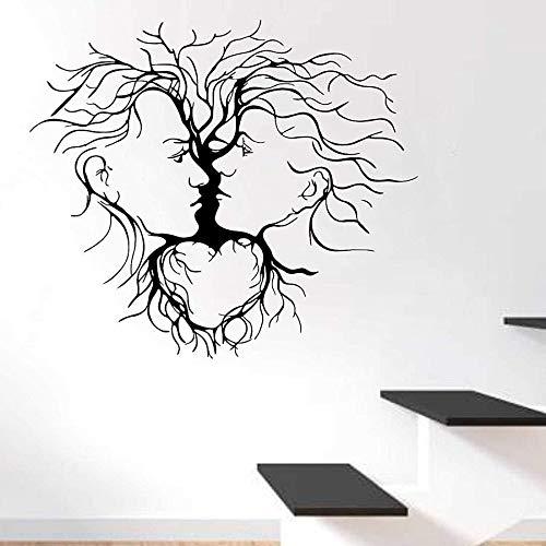 Tianpengyuanshuai Baum abstrakte Kunst Wandaufkleber für Liebespaar Hauptdekoration Schlafzimmer Wohnzimmer abnehmbare Vinyl Aufkleber 42X48cm