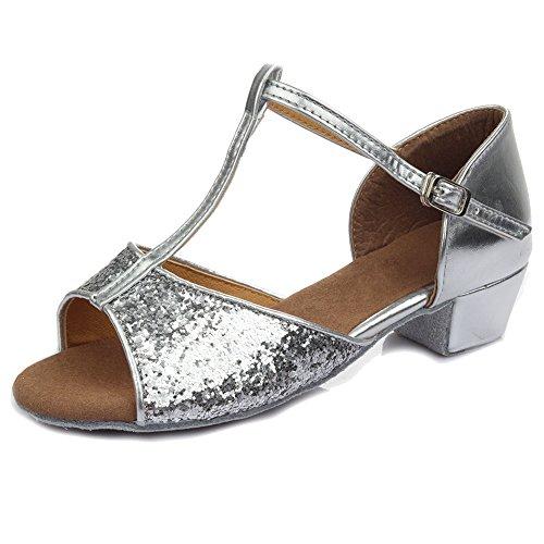 SWDZM Niñas Estándar de Zapatos de baile latino Satén Ballroom modelo-ES-205