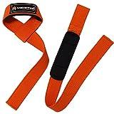 Meister Neoprene-Padded No-Slip Weight Lifting Straps for Grip (Pair) - Orange