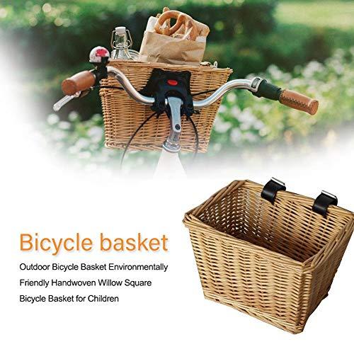 Eillybird Fietsmand vooraan stuurmand rieten mand fiets bagagedragermand Outdoor fietsmand milieuvriendelijk handgeweven vierkante fietsmand voor kinderen