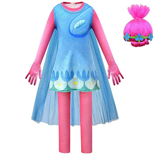 CanKun Disfraces Halloween para Niños Disfraz Trolls Princesa Poppy Dress + Wig Up Halloween Cosplay Party Regalos para Niñas El Rango Altura Recomendado Es 3.3 A 5 Pies,110