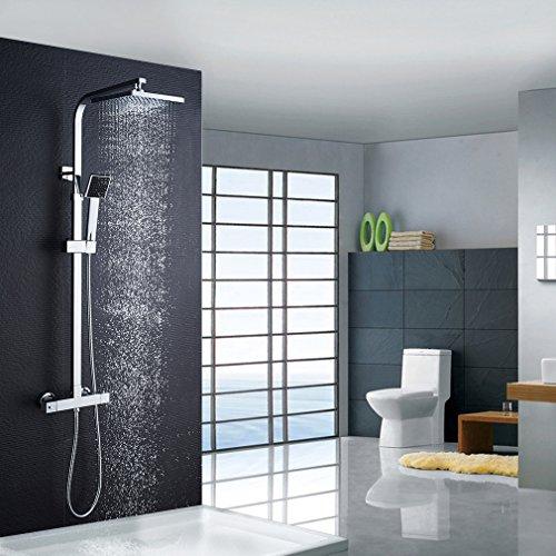 Auralum Thermostatische Duschsystem, 38 °C Sicherheitssperre Brausethermostat mit Überkopfbrause aus Edelstahl und Handbrause, Duschdet mit 925-1250mm Verstellbare Duschstange für Badezimmer