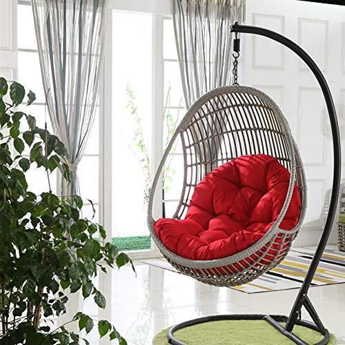 Swing Hanging Basket Seat Cushion, Thicken Hanging Egg Hammock Chair Pads Waterproof Chair Seat Cushioning for Patio Garden (Color : Red, Size : 90x120cm(35x47inch))