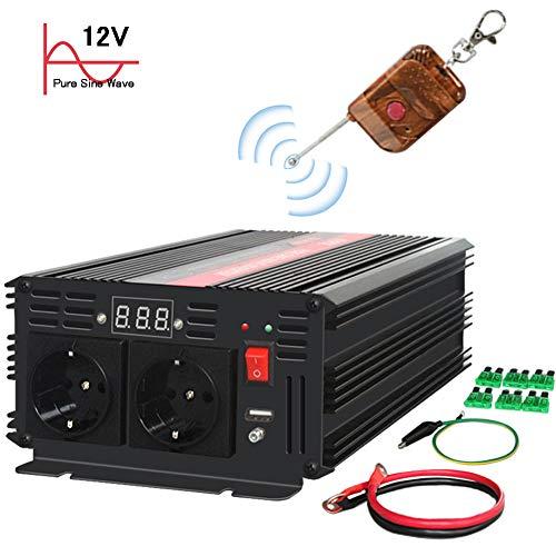 KRIPOL 1500W/3000W Reiner Sinus Spannungswandler Wechselrichter 12V auf 230V Umwandler-Inverter Konverter mit 2 EU Steckdose und USB-Port- Kabellose Fernbedienung und LED-Anzeige
