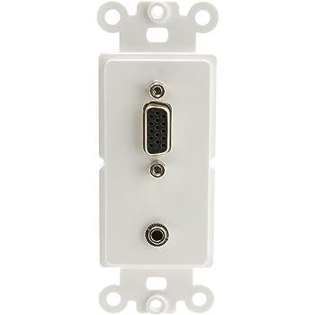 White CNE41459 Decora Wall Plate Insert Dual VGA Couplers HD15 Female