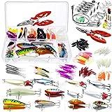 Homealexa Señuelos de Pesca, 123 Piezas Kits de Señuelos Pesca Accesorios Cebos Artificiales Articulos de Pesca Incluido la Caja Tackle, Ganchos, Tijeras, Cebos, Popper, Grillos y más