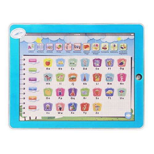 11-in-1 Multifunction Imitative iPad Toys Kids Preschool Playing Toy Electronic Educational Learning Machine Toy Tablet Study English ABC Digital Fruit Recognitive Toy for Baby Child Over 18 Months