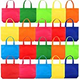 Party Favor Bags, 8 Assorted Bright Colors, 20pcs 13' Non-Woven Rainbow Treat Bags with Handles For Kids Birthday Favors, Snacks, Toys