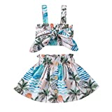 Toddler Baby Girl Summer Outfits Floral Print Sleeveless Crop Top + Skirt 2pc Casual Clothes Set (Blue, 6-12 Months)