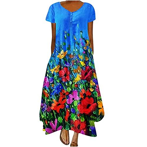 Vestido maxi de verano para mujer, de manga corta, estilo retro, casual, con cuello en V, para mujer, vestido de lino bordado, estilo hola, bajo, largo, casual, bohemio, floral, playa, maxi vestido