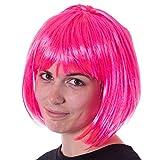 Neon Pink Bob Halloween Costume Synthetic Wig | Unisex