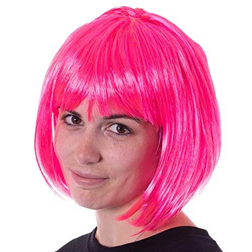 Neon Pink Bob Halloween Costume Synthetic Wig - Unisex, Cosplay Anime Hair