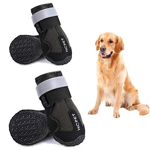 Petotw Zapatos Impermeables para Perros Botas Antideslizantes para Perros Protector de Pata con Tira Reflectante Botas para Perros Medios y Grandes 4 Piezas (XL, Negro, 6#)