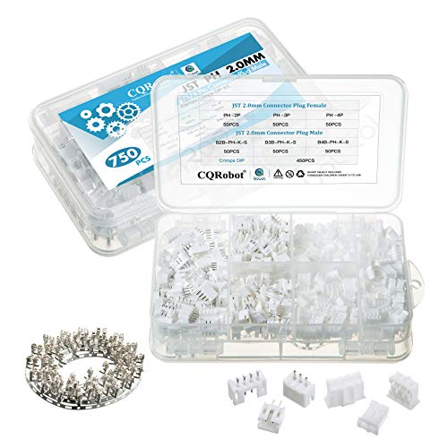 750 Pieces 2.0mm JST-PH JST Connector Kit. 2.0mm Pitch Female Pin Header, JST PH - 2 / 3 / 4 Pin Housing JST Adapter Cable Connector Socket Male and Female, Crimp DIP Kit.