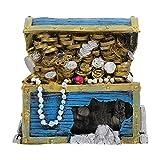 DOITOOL Cofre del Tesoro Ornamento del Acuario Decoraciones del Tanque de Peces Azul Cielo