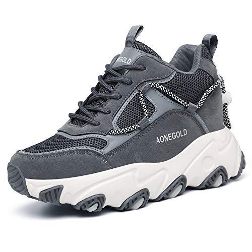 AONEGOLD Zapatos de Deporte Mujer Zapatillas de Cuña Zapatillas de Deporte Casuales Damas al Aire Libre Transpirable Plataforma Zapatos(Gris,Tamaño 37)