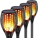 LTPAG Llama Solar Luces, 4 Pack 96 LED 30.7 Pulgadas Luces Solares Antorcha 2200mAh, Luz de Llama Solar de Exterior Encendido Apagado Automático,para Exteriores, Jardín, Pasillo,Terraza Iluminación