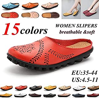 Women Leather Slippers Summer Sandals Breathable Loafers Soft Flats Shoes Ladies Loafers Zapatos De Mujer Mulheres Sapatos(Orange,43)