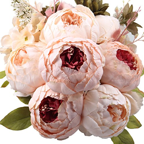 LeagelFake Flowers Vintage Artificial Peony Silk Flowers Bouquet Wedding Home Decoration, Pack of 1 (Light Pink)
