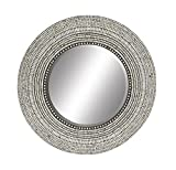 Deco 79 49073 Wood & Shell Inlay Rd Mirror