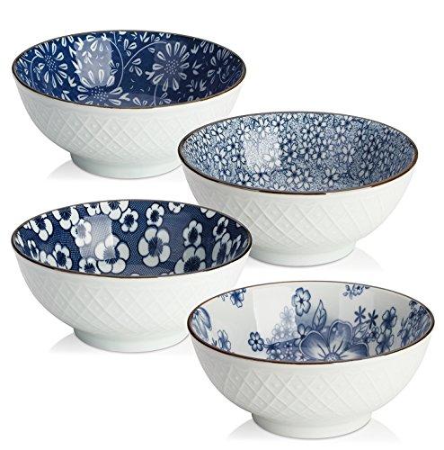 Y YHY Keramikschalen für Müsli, Suppe, Salat, 473 ml, japanische Schalen, Set mit 4 verschiedenen Designs, Blau und Weiß