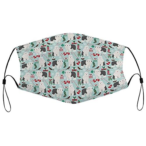 best& Lindo pañuelo de Navidad para adultos con estampado de perro pastor viejo, lavable, reutilizable, transpirable, a prueba de polvo, protector facial para mujeres y hombres